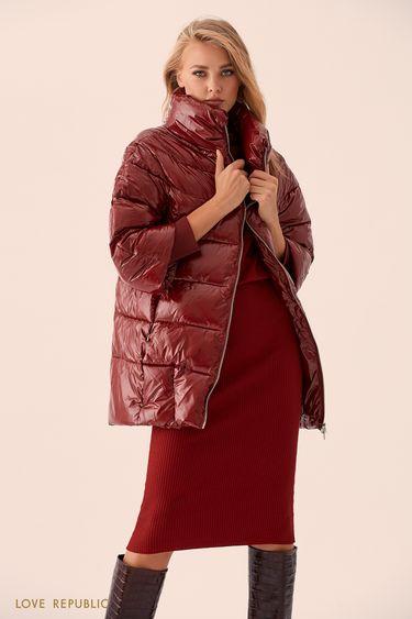 Бордовая куртка-пуховик с длинными манжетами 9359221121