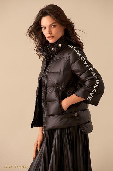 Чёрная куртка-пуховик с укороченными рукавами 9359223123