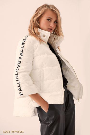 Молочная куртка-пуховик с укороченными рукавами 9359223123