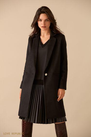 Чёрное пальто из шерстяной ткани на подкладке 9359225125