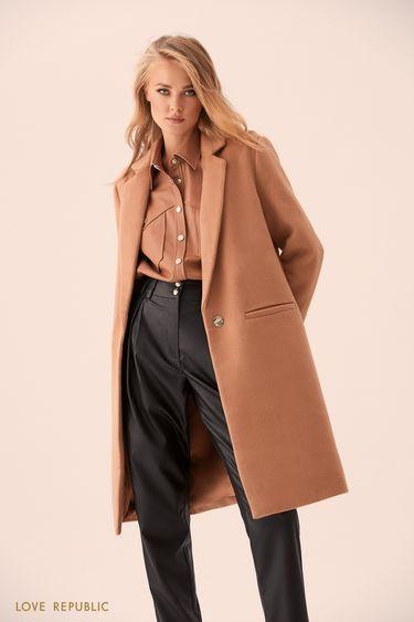 Бежевое пальто из шерстяной ткани на подкладке 9359225125