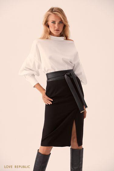 Блузка с застёжкой сзади и открытым плечом 9359258318