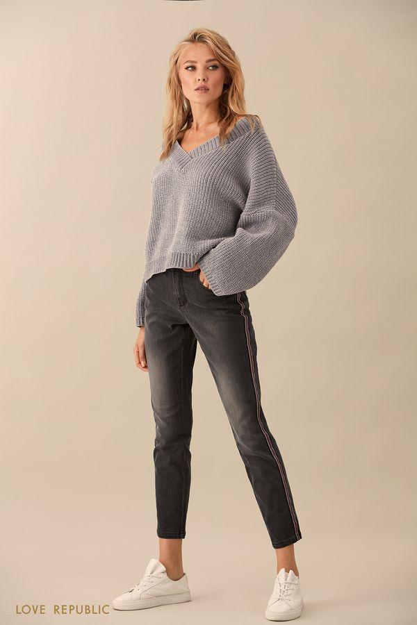 Узкие джинсовые брюки с потёртостями 9359204734-37