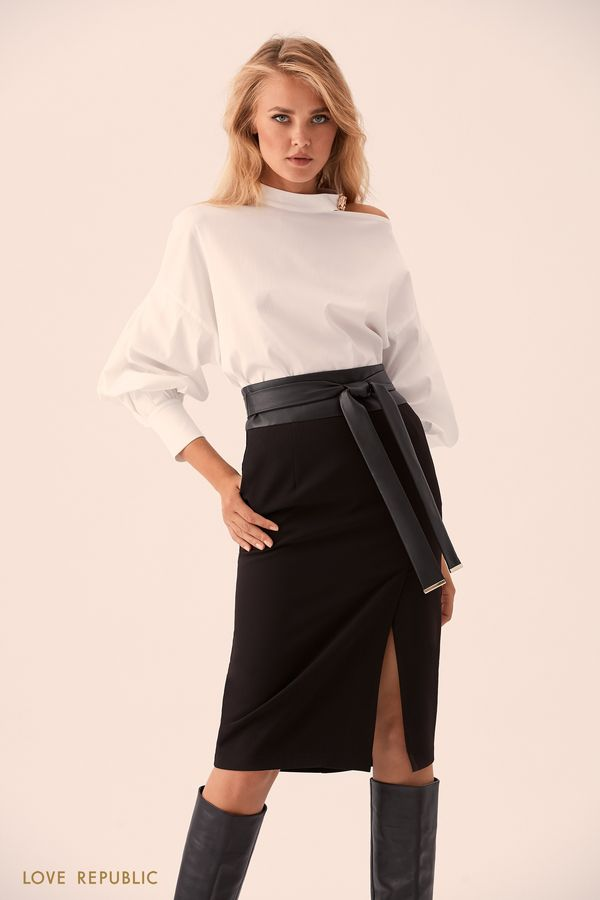 Блузка с застёжкой сзади и открытым плечом 9359258318-1