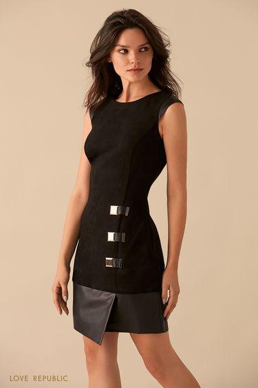 Платье с отделкой из искусственной кожи 9359312515