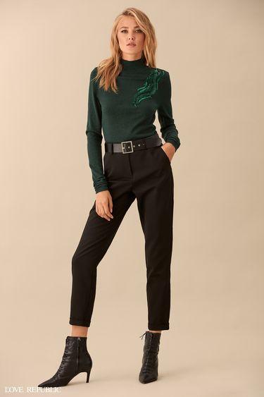 Укороченные хлопковые брюки с ремнём 9359313707