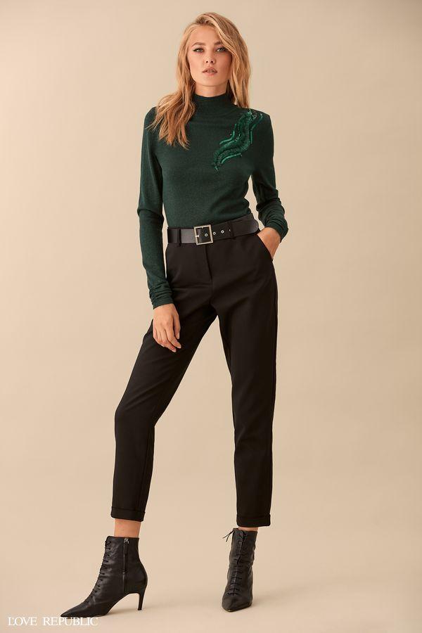 Укороченные хлопковые брюки с ремнём 9359313707-50