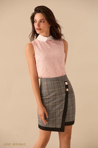 Светло-розовая блузка без рукавов с кружевом 9359501331