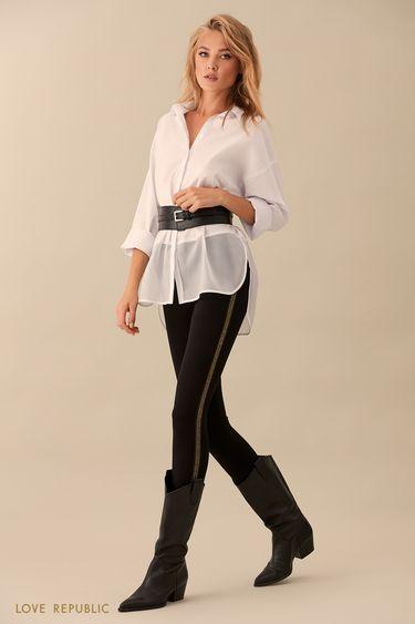 Облегающие брюки с золотистой полосой в боковых швах 9359504724