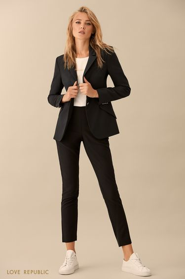 Прямые чёрные брюки с пуговицами 9359561726