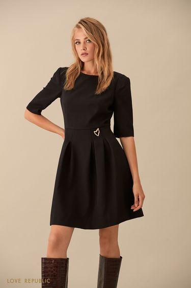 Чёрное платье с рукавами до локтя 9359569556