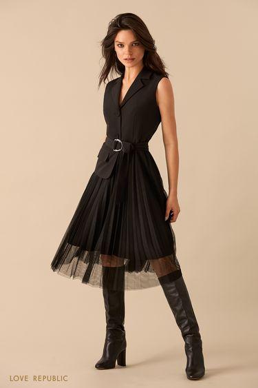 Платье без рукавов с плиссированной юбкой  9359570558