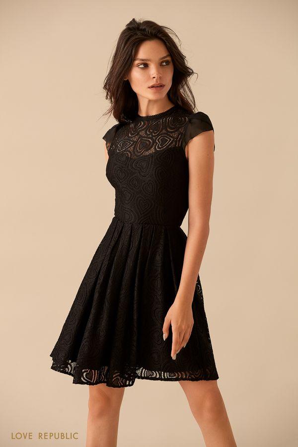Приталенное платье из кружева на подкладке 9359501551-50