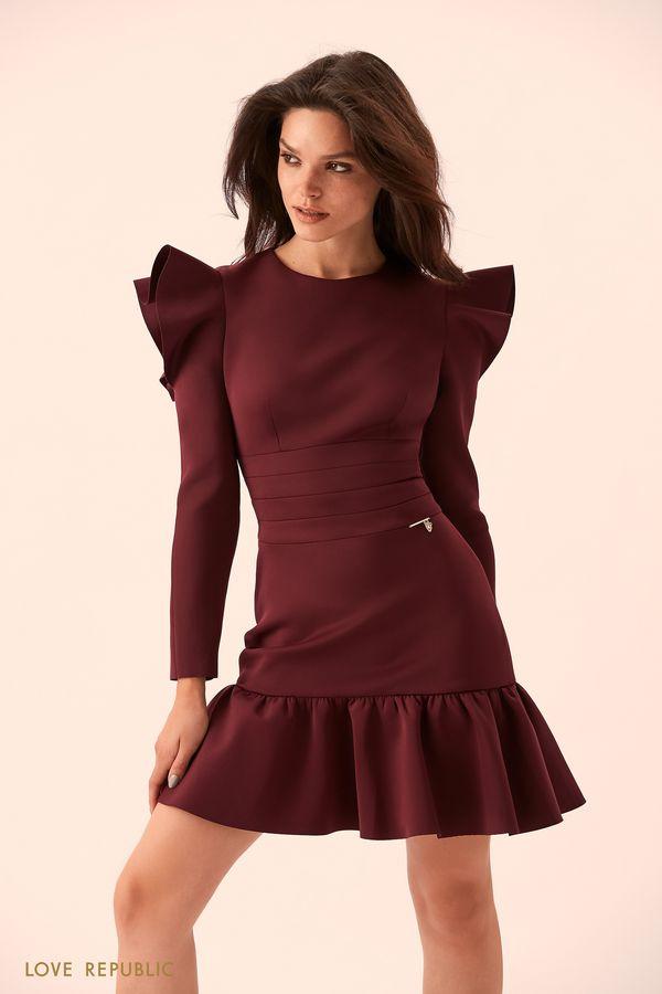 Закрытое платье с драпировками и вырезами на плечах 93595020554-80