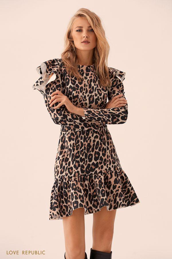 Мини-платье с леопардовым принтом и вырезами на плечах 9359502554-65