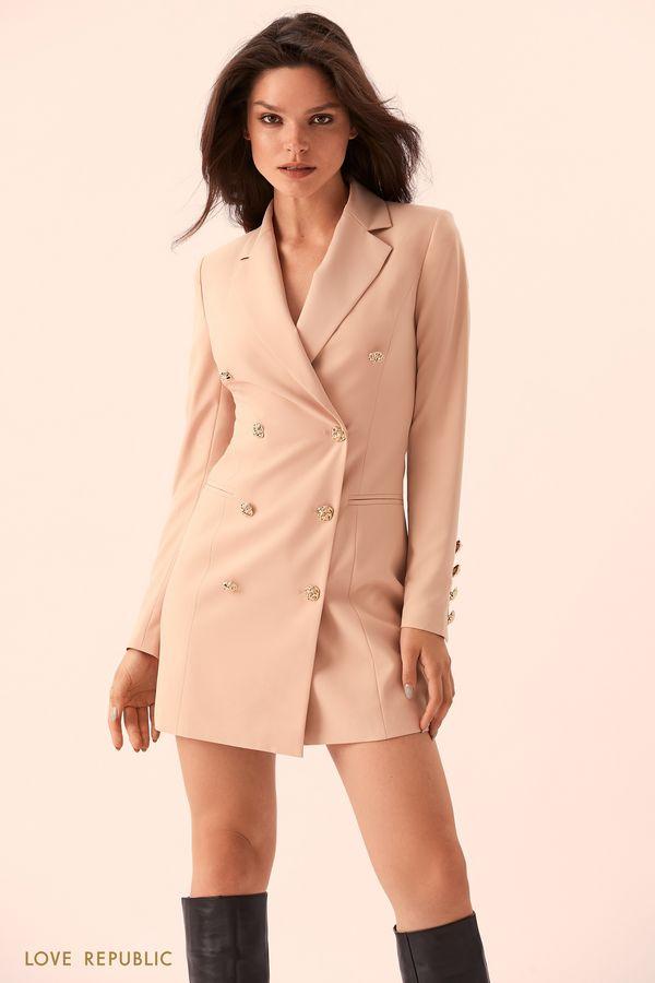 Бежевое платье-пиджак с золотистыми пуговицами 9359561570-62