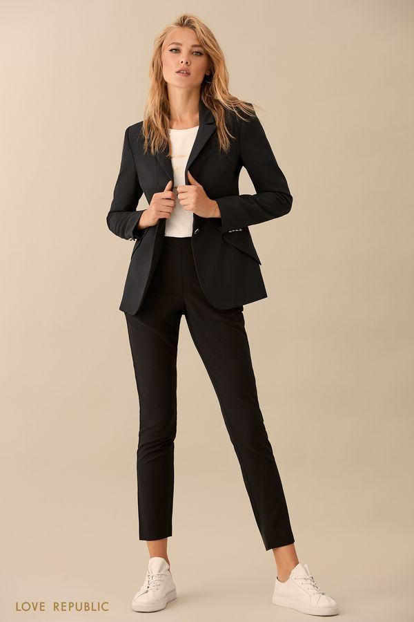 Прямые чёрные брюки с пуговицами 9359561726-50