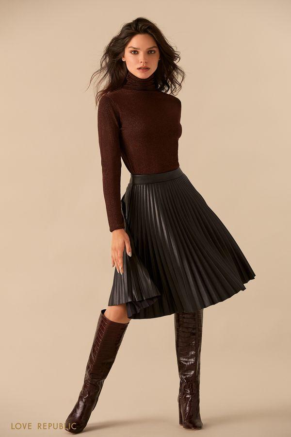 Плиссированная юбка из искусственной кожи 9359566232-50