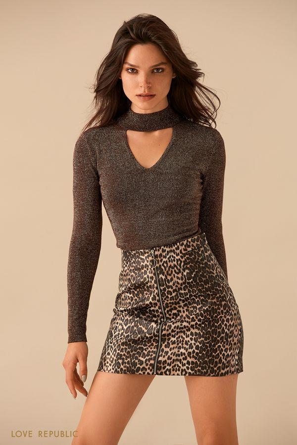Коричневый свитер с треугольным вырезом 9359631841-20