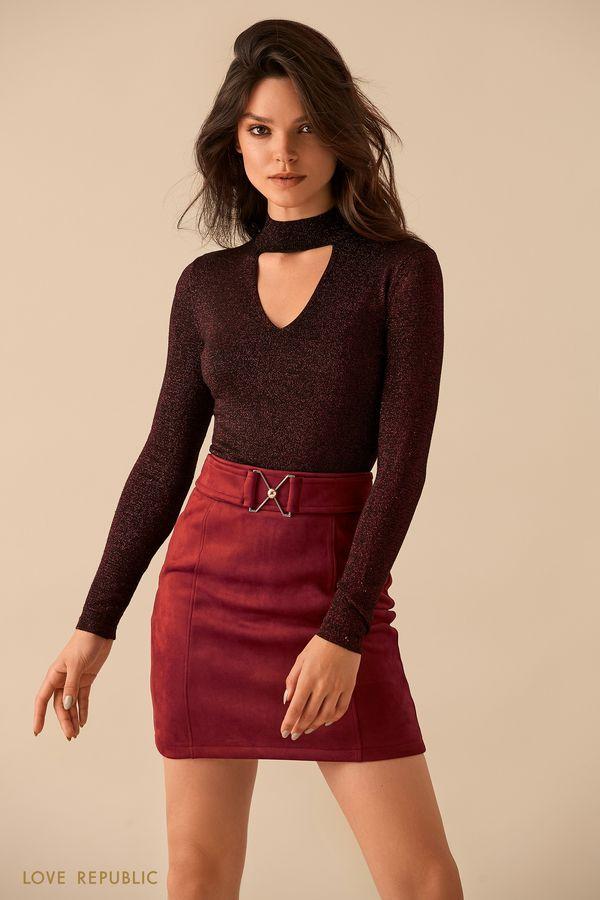 Бордовый свитер с треугольным вырезом 9359631841-71