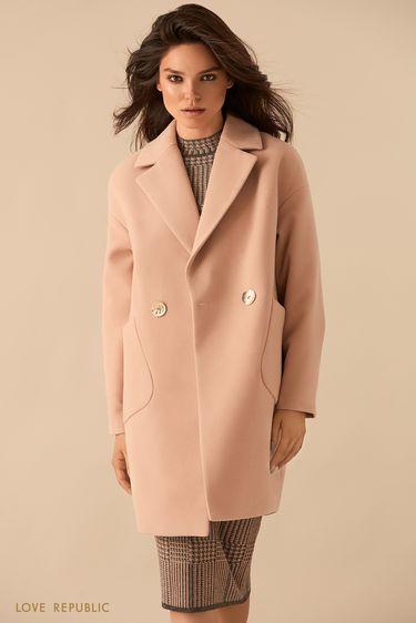 Бежевое двубортное пальто оверсайз 9359721131