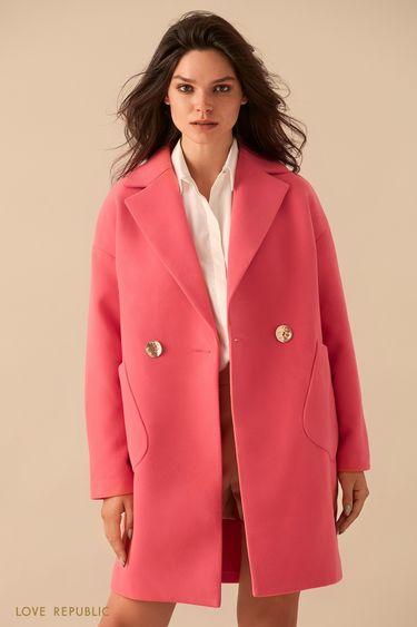 Розовое двубортное пальто оверсайз 9359721131
