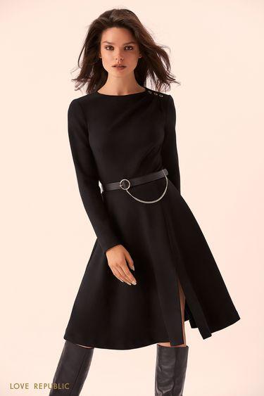 Чёрное платье с цепочкой на пряжке  9359757504