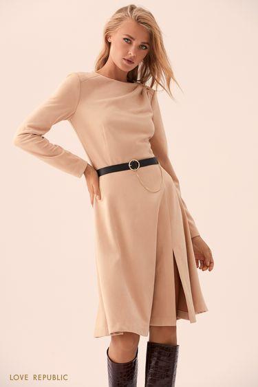 Бежевое платье с цепочкой на пряжке  9359757504