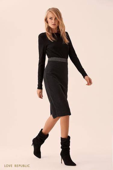 Короткая чёрная блузка из материала с люрексом 9359761305
