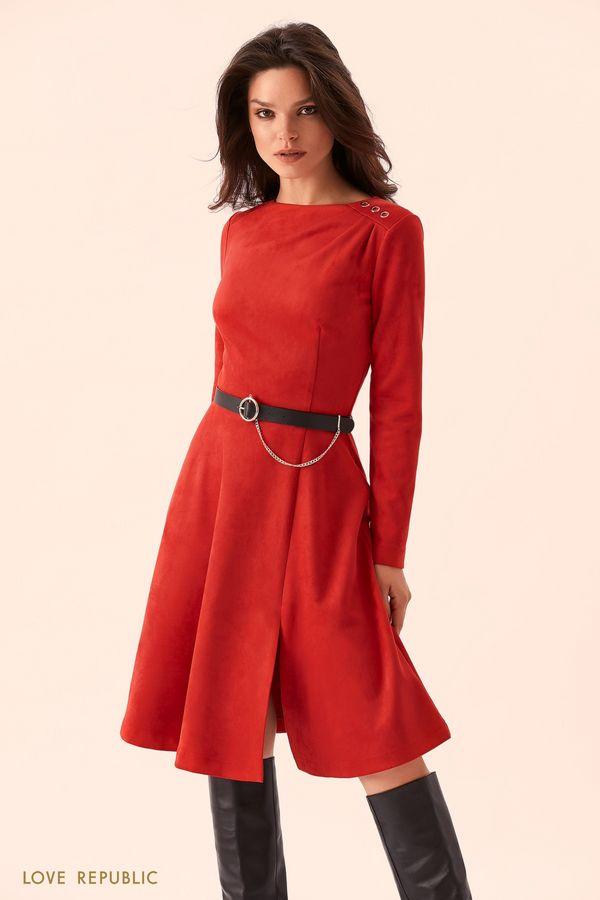 Красное платье с цепочкой на пряжке 9359757504-70