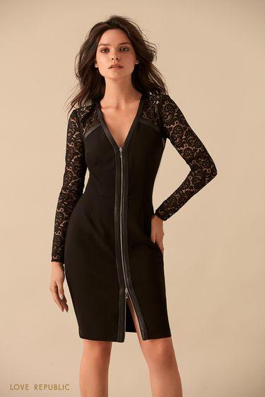 Платье с кружевными рукавами и застёжкой-молнией 9359812505