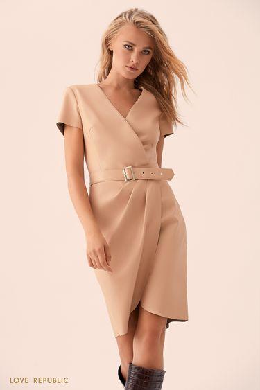 Платье из искусственной кожи на запахе 93598130506
