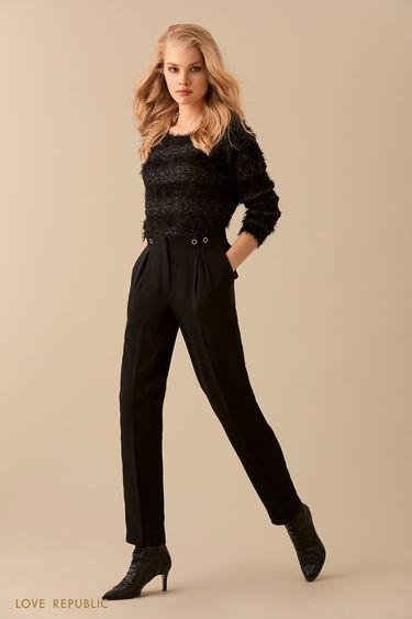 Чёрные брюки с высокой талией и декором с защипами 9359817706