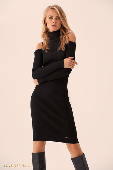 Чёрное платье с вырезами на плечах 9359885508