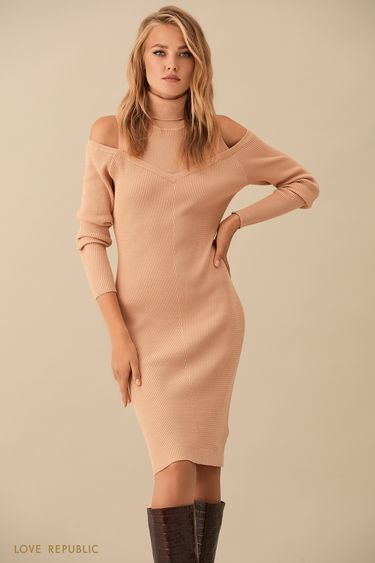 Песочное платье с вырезами на плечах 9359885508