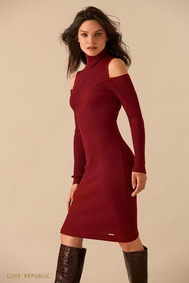 Красное платье с вырезами на плечах 9359885508