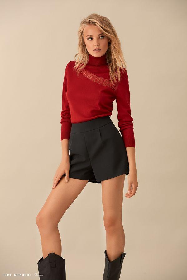 Красный свитер с асимметричной вставкой из сетки 9359883813-70