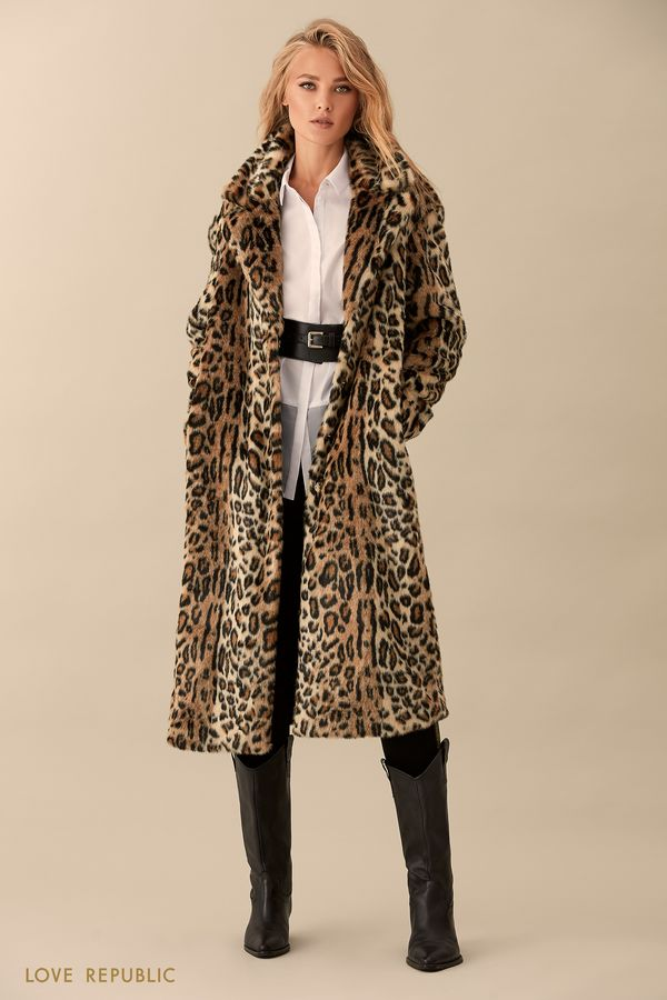 Пальто из искусственного меха с леопардовым принтом 93599720102-65