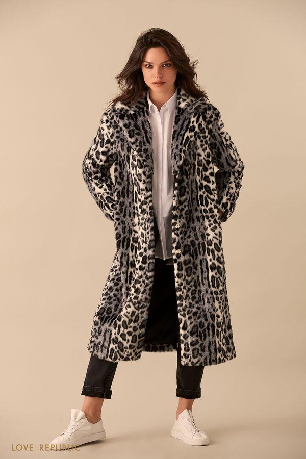 Длинное пальто из искусственного меха с леопардовым принтом 9359972102-53