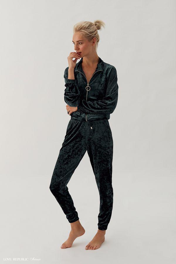 Домашние брюки из велюровой ткани 938063841-17