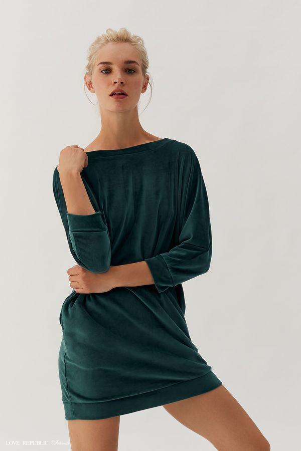 Домашнее платье из бархатистой ткани 938066853-17