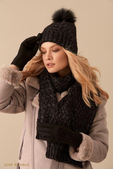 Широкий чёрный шарф фактурной вязки 944015006