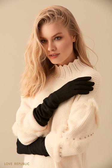 Длинные шерстяные перчатки чёрного цвета  944017007