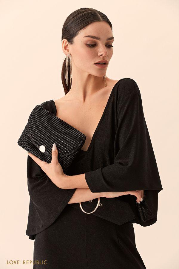 Чёрная сумка-конверт с блестящим декором 944120094-50