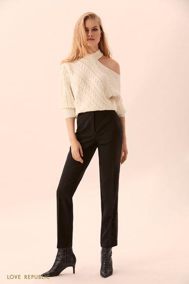 Прямые чёрные брюки с белой прострочкой 9450062732