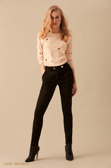 Зауженные чёрные замшевые брюки с рельефными швами 9450070735
