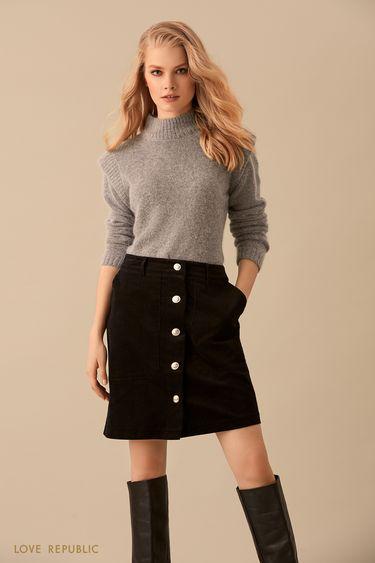 Короткая плотная юбка чёрного цвета на пуговицах  9450071222