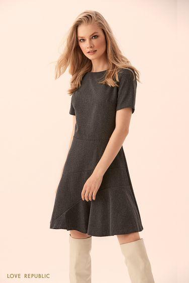Платье с короткими рукавами из костюмной ткани 9450073530