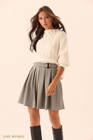 Плиссированная юбка из серой костюмной ткани 9450074229