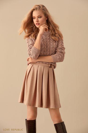 Плиссированная юбка из бежевой костюмной ткани 9450074229